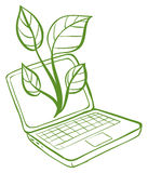 A green laptop with an image of a green plant Royalty Free Stock Photo