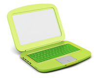 Green laptop  on white background. 3d rendering.  Royalty Free Stock Photos