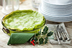 Green Lasagna Decorated For Christmas Royalty Free Stock Image