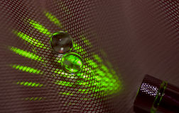 Green Lase and Ball. View green laser and ball close up Royalty Free Stock Images