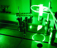 Green laser beam. Exposure to the beam of a green neodimium laser stock image
