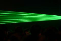 Green laser beams. At a party Stock Images