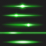 Green laser beams pack Stock Images