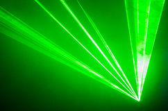 Green Laser Beams through Smoke Royalty Free Stock Photos