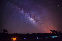 Green laser guide star and Milky Way . Long exposure photograph, Royalty Free Stock Photos