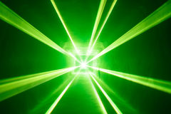 Green laser light background with smoke Royalty Free Stock Photos