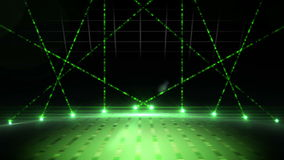 Green laser show on black background