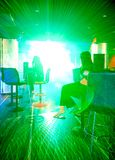 Laser show in party. Green laser show in party Royalty Free Stock Photos