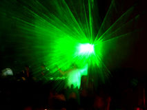 Green laser on the stage 2 Stock Photo