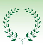 Green Laurel wreath isolated on green Royalty Free Stock Photos