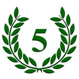 Laurel wreath 5 year anniversary on a white background vector illustration