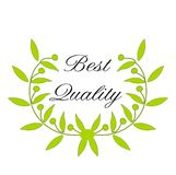 Green Laurel Wreath with the Words `Best Quality`. The illustration shows a green laurel wreath. In the middle of the laurel wreath are written the words &#x22 Royalty Free Stock Photos