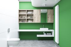 Green lavatory interior, cabinets. White and green lavatory interior with a concrete floor, a double sink, cabinets and a toilet. 3d rendering mock up Stock Image
