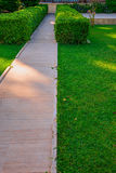 Green lawn and beautiful track Stock Photography