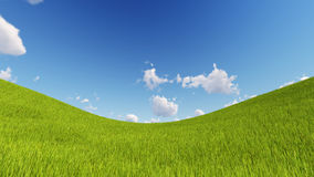 Green lawn with blue sky and clouds 3D render.  Royalty Free Stock Photo