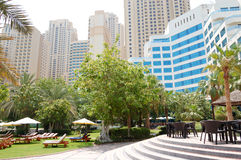 Green lawn and building of luxury hotel royalty free stock photos