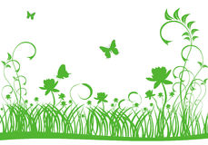 Green lawn and butterfly Royalty Free Stock Photo