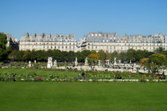 Green lawn in front of louvre in Paris Stock Images