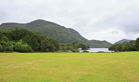 Green lawn in front of Muckross Lake. Stock Image