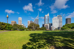 Green lawn with modern building as background in Sydney, Australia Royalty Free Stock Photography