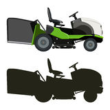 Green lawn mower. Green lawnmower on a white background Royalty Free Stock Images