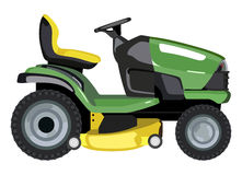 Green lawn mower. Green lawnmower on a white background Royalty Free Stock Photo