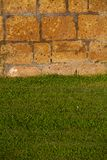 Green lawn with wall royalty free stock photos