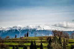 Green lawns and snowy mountains Stock Photos