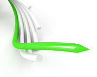 Green leading cable over white Stock Images