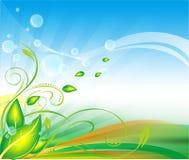 Green leaf background vector. Background leafs vector floral sky line design screen light Stock Images