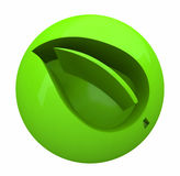 Green Leaf in Ball - Environmental Icon Royalty Free Stock Photos