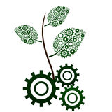 Green Leaf Branch with gears. Green gears with a green leaves branch coming from it vector illustration