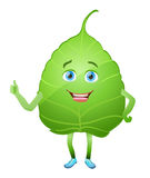 Green leaf cartoon character Royalty Free Stock Image