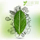 Green leaf with circle ecology doodles. Sketched eco elements with tree leaves. On white background Stock Photo