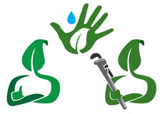 Green Leaf Concept. Green leaf man and a plumber ready to save the environment Stock Photo