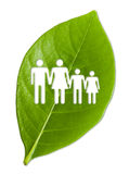 Green leaf with a cut out family Royalty Free Stock Image