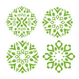 Green leaf decorating with healthy swash symbol Stock Photo