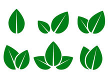 Green leaf eco icons set Stock Images