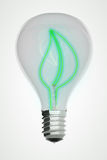 Green Leaf Eco Lightbulb Stock Image