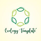 GREEN LEAF ECOLOGY AGRICULTURE LOGO TEMPLATE Stock Photo