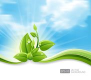 Green leaf ecology concept with grass waves and blue sky background. Vector ecology leaves and green wave, Eco-friendly abstract background . vector stock vector illustration