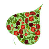 Green leaf filled with vegetables. Vector Royalty Free Stock Image