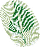 Green leaf fingerprint. As suggestion to reduce individual carbon footprint Royalty Free Stock Photos