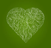 Green leaf, in the form of heart royalty free illustration