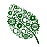 Green Leaf with gears. A green leaf shape with green gears into it vector illustration