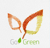 Green leaf hand drawn concept Stock Photo