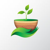 Green leaf in hand shape holding sapling. Save the nature.Green leaf in hand shape holding sapling with eco concept design.Vector illustration Royalty Free Stock Photos