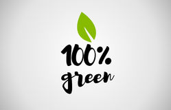 100% green leaf handwritten text white background. 100% green text leaf black white logo vector creative company icon design template color colorful black stock illustration