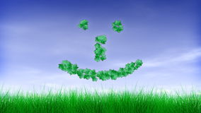 Green Leaf Happy Face Emoticon :-). V.2 - Happy Face emoticon text grows as leaves with green grass and blue sky with clouds. Last ten seconds of this video is a stock video