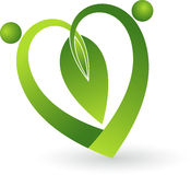Green leaf heart shape. Illustration art of a green leaf heart shape logo with  background Royalty Free Stock Image